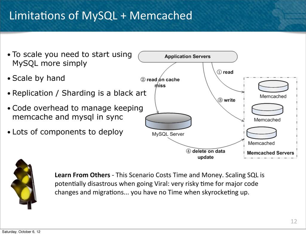 Limita^ons of MySQL + Memcached 12 ...