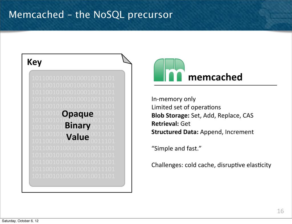 16 Memcached – the NoSQL precursor Key 10110010...