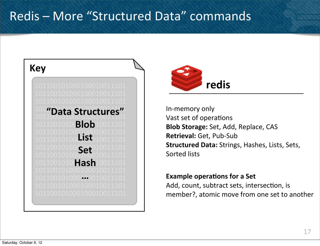 """17 Redis – More """"Structured Data""""..."""