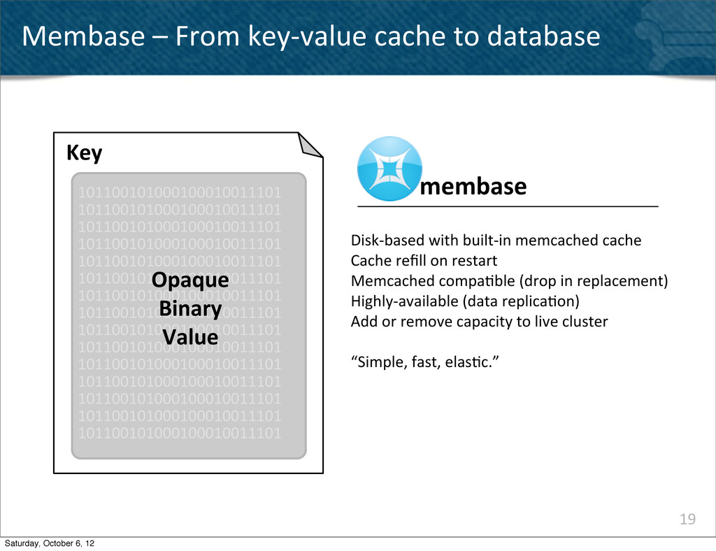 19 Membase – From key-‐value cache...