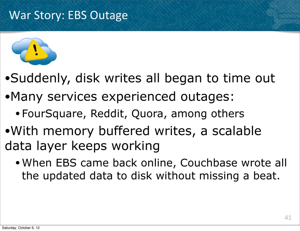 41 ●Suddenly, disk writes all began to time out...