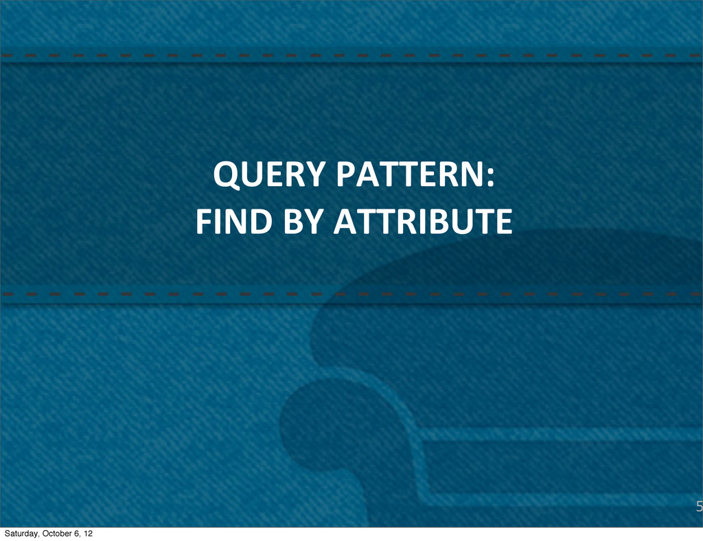 5 QUERY PATTERN: FIND BY ATTRIBUTE Sat...