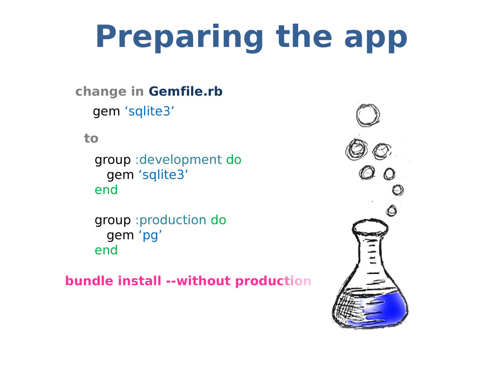Preparing the app change in Gemfile.rb to bundl...