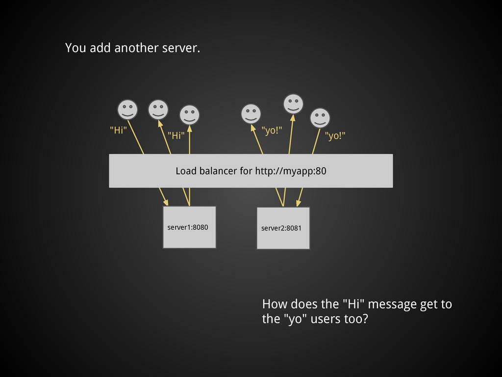 "You add another server. server1:8080 ""Hi"" ""Hi"" ..."