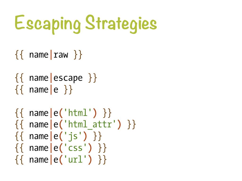 Escaping Strategies {{ name|raw }} {{ name|esc...