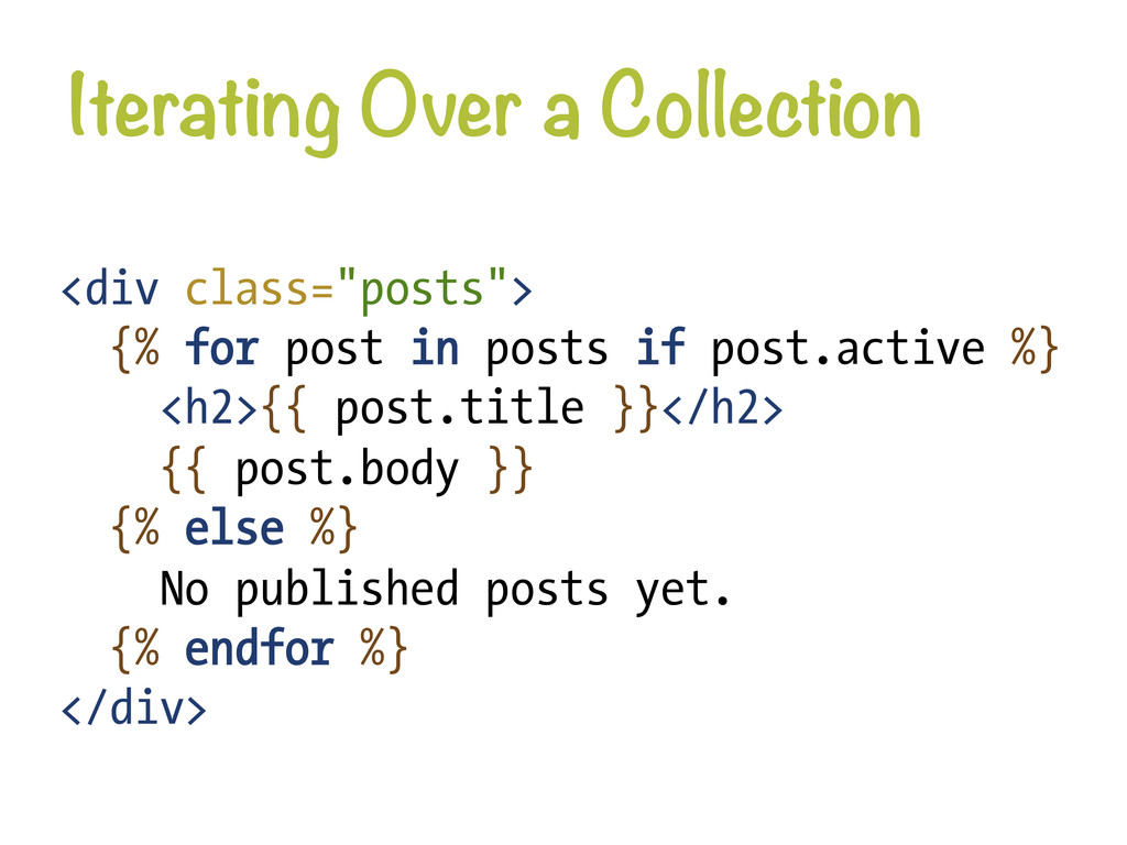 """Iterating Over a Collection <div class=""""posts""""..."""