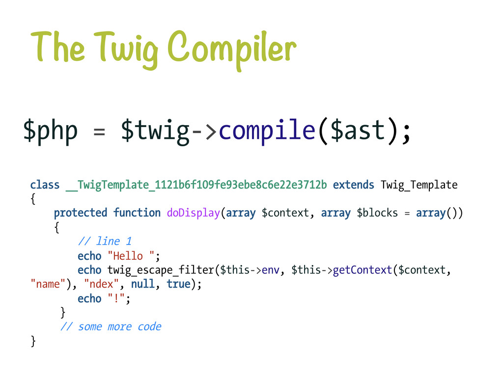 The Twig Compiler $php = $twig->compile($ast);...