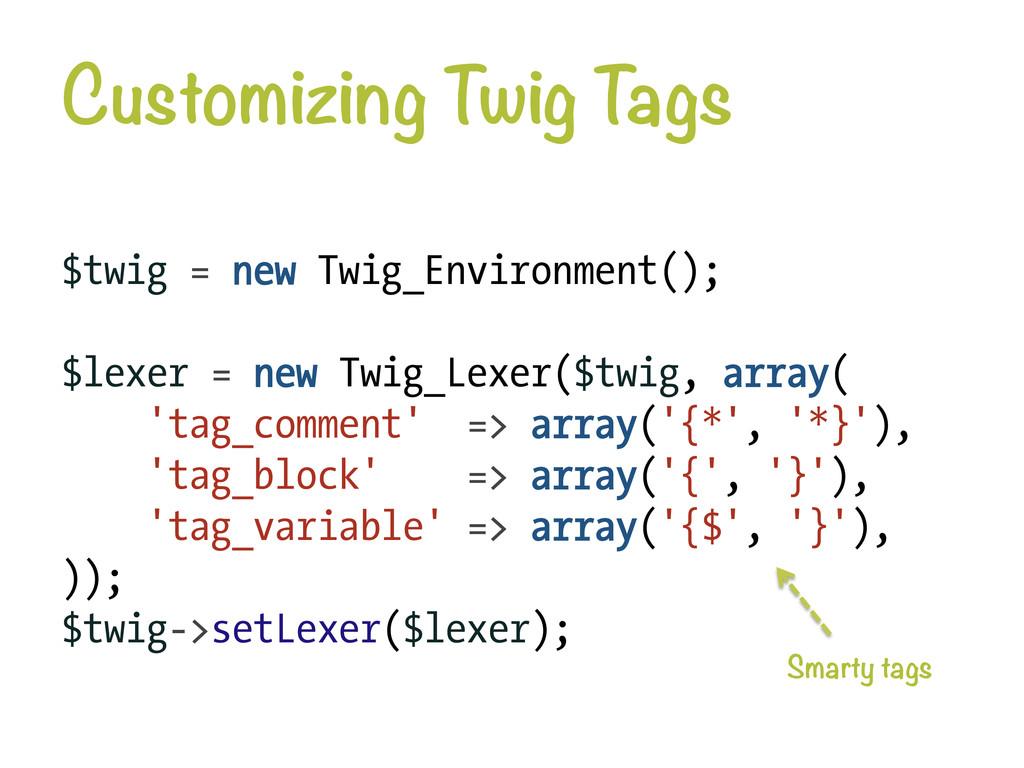 Customizing Twig T ags $twig = new Twig_Enviro...