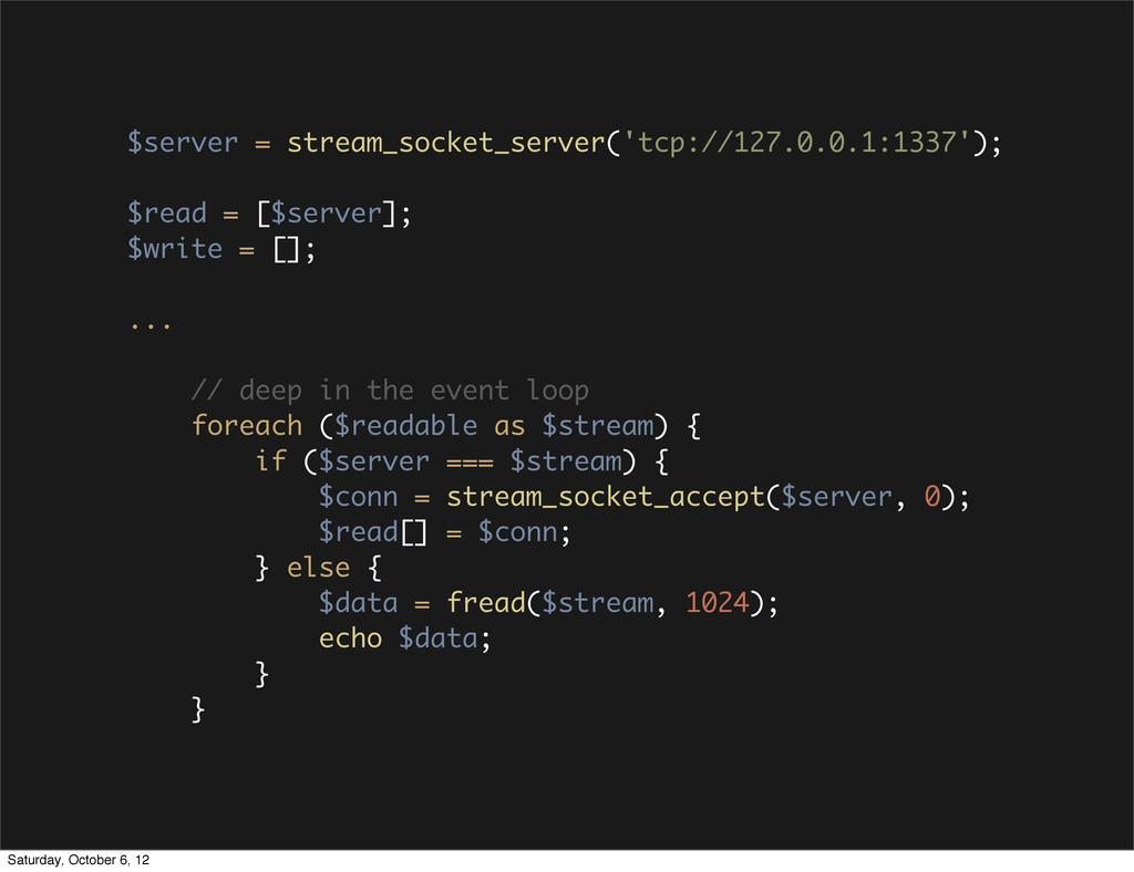 $server = stream_socket_server('tcp://127.0.0.1...