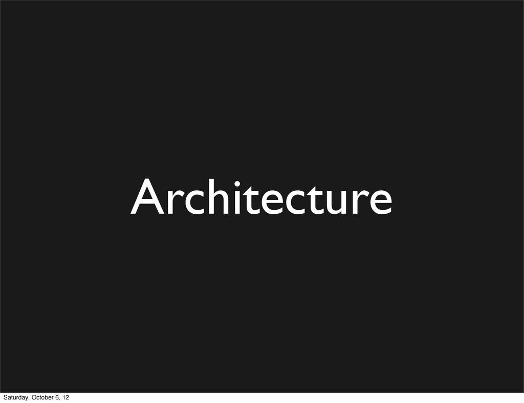 Architecture Saturday, October 6, 12