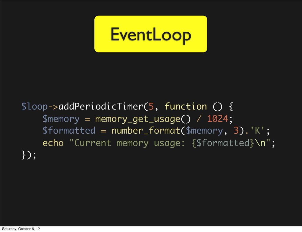 EventLoop $loop->addPeriodicTimer(5, function (...