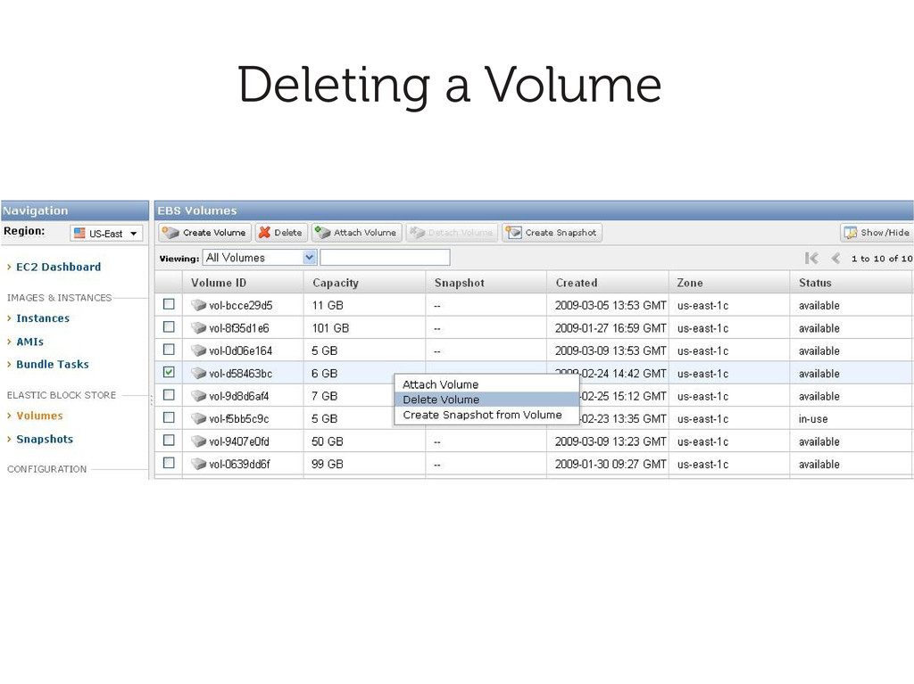 Deleting a Volume