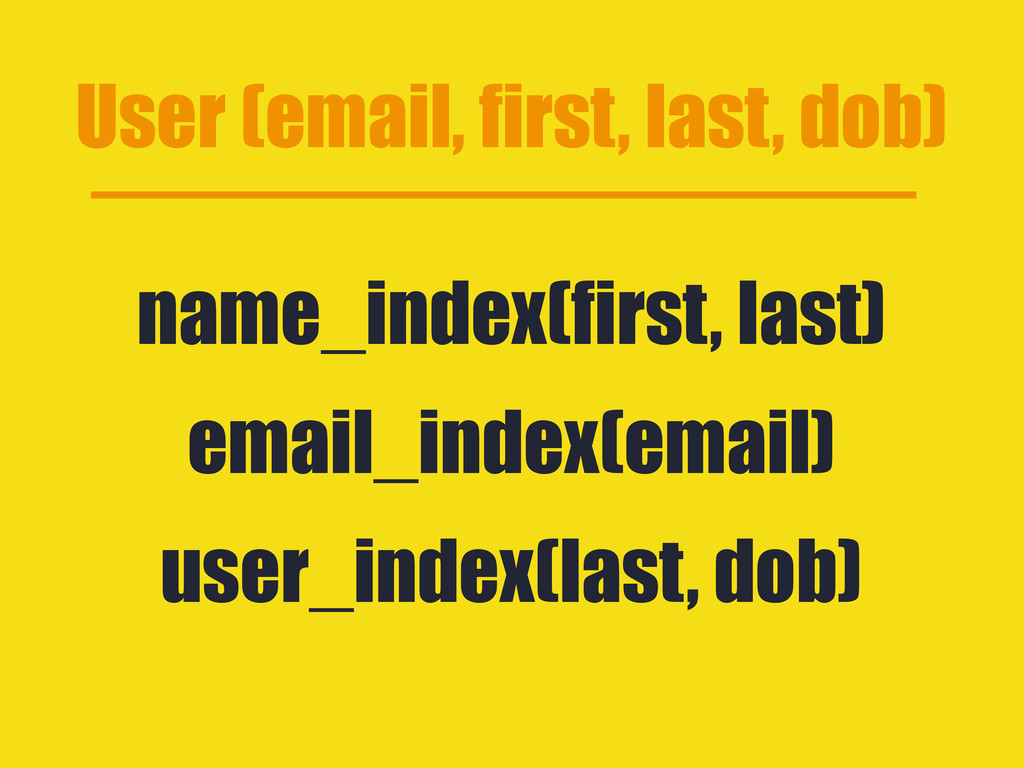User (email, first, last, dob) name_index(first...