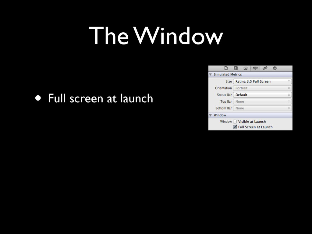 The Window • Full screen at launch