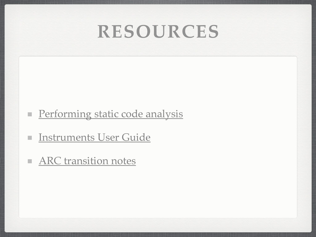 RESOURCES Performing static code analysis Instr...