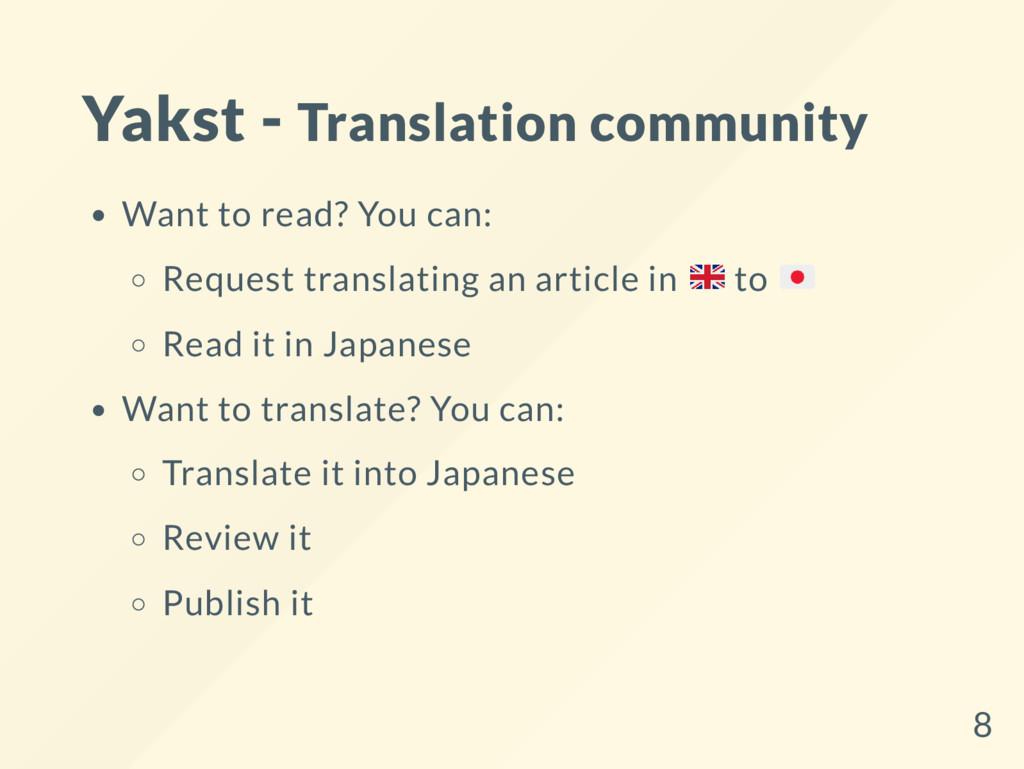 Yakst - Translation community Want to read? You...