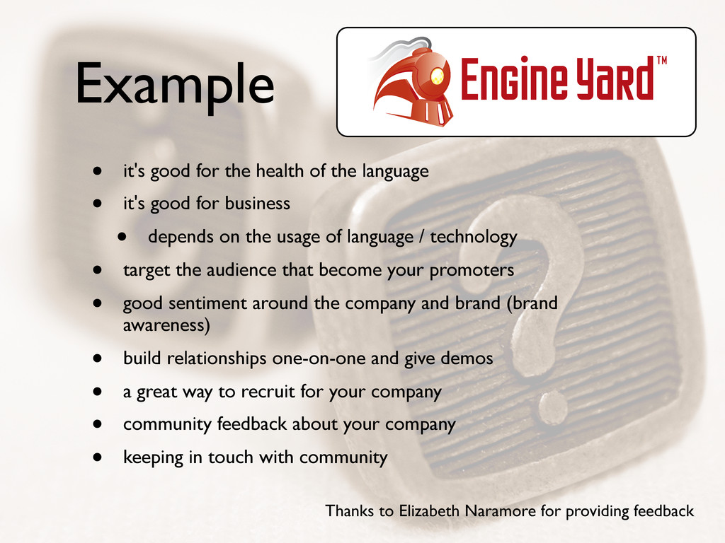 Example • it's good for the health of the langu...