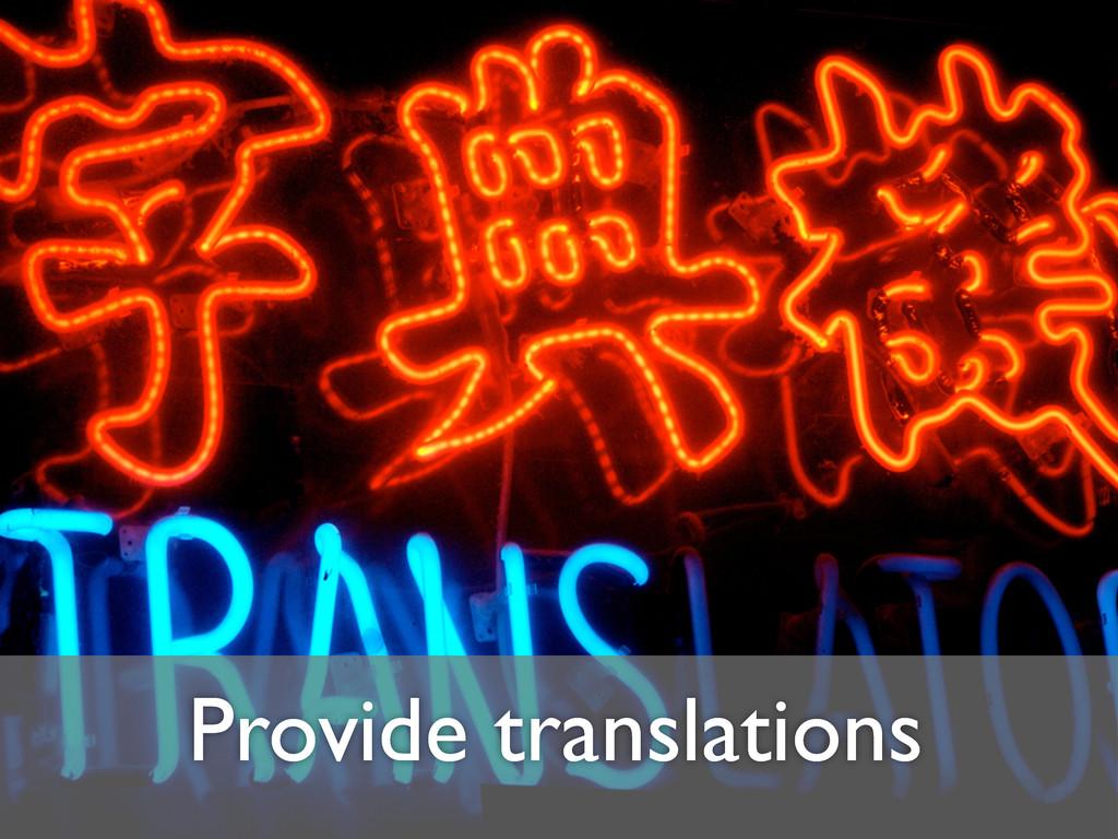 Provide translations