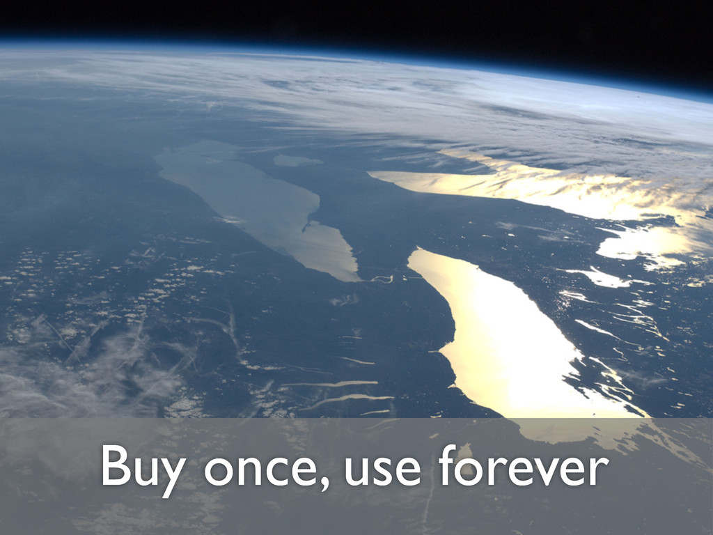 Buy once, use forever