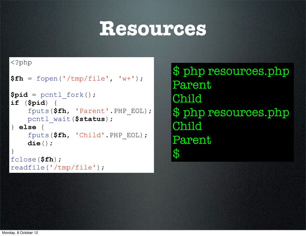 Resources $ php resources.php Parent Child $ ph...