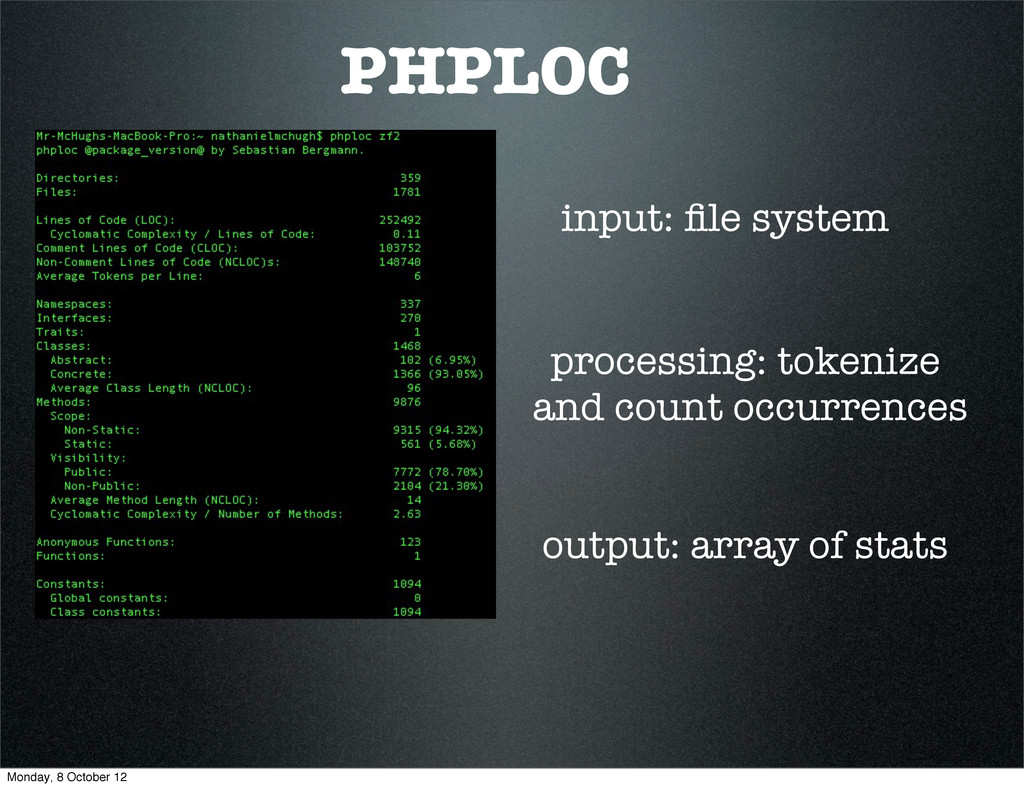 PHPLOC input: file system output: array of stats...
