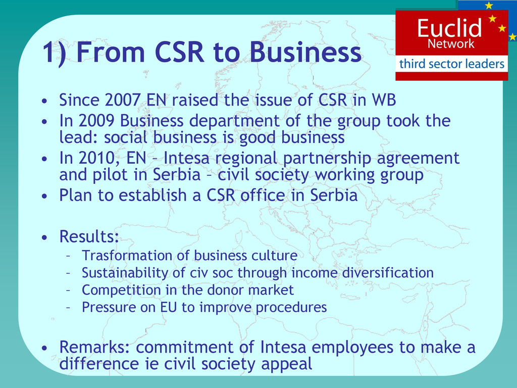 1) From CSR to Business • Since 2007 EN raised ...