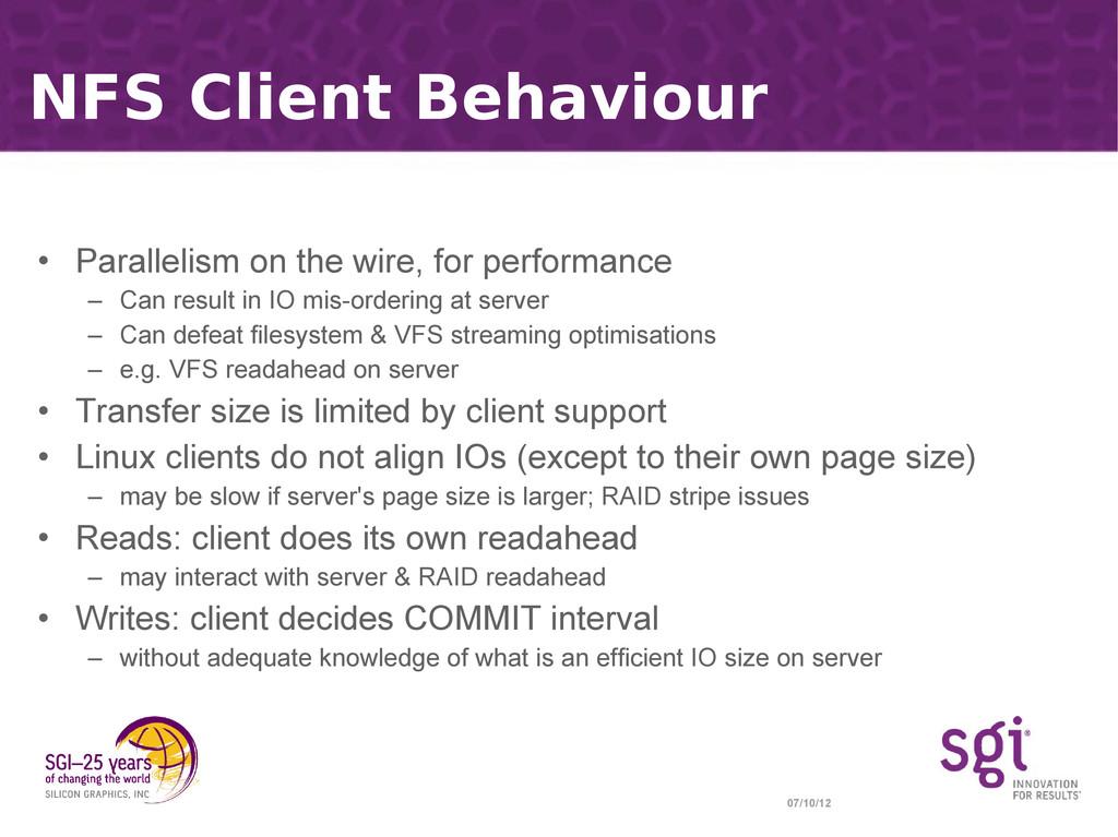 07/10/12 NFS Client Behaviour • Parallelism on ...