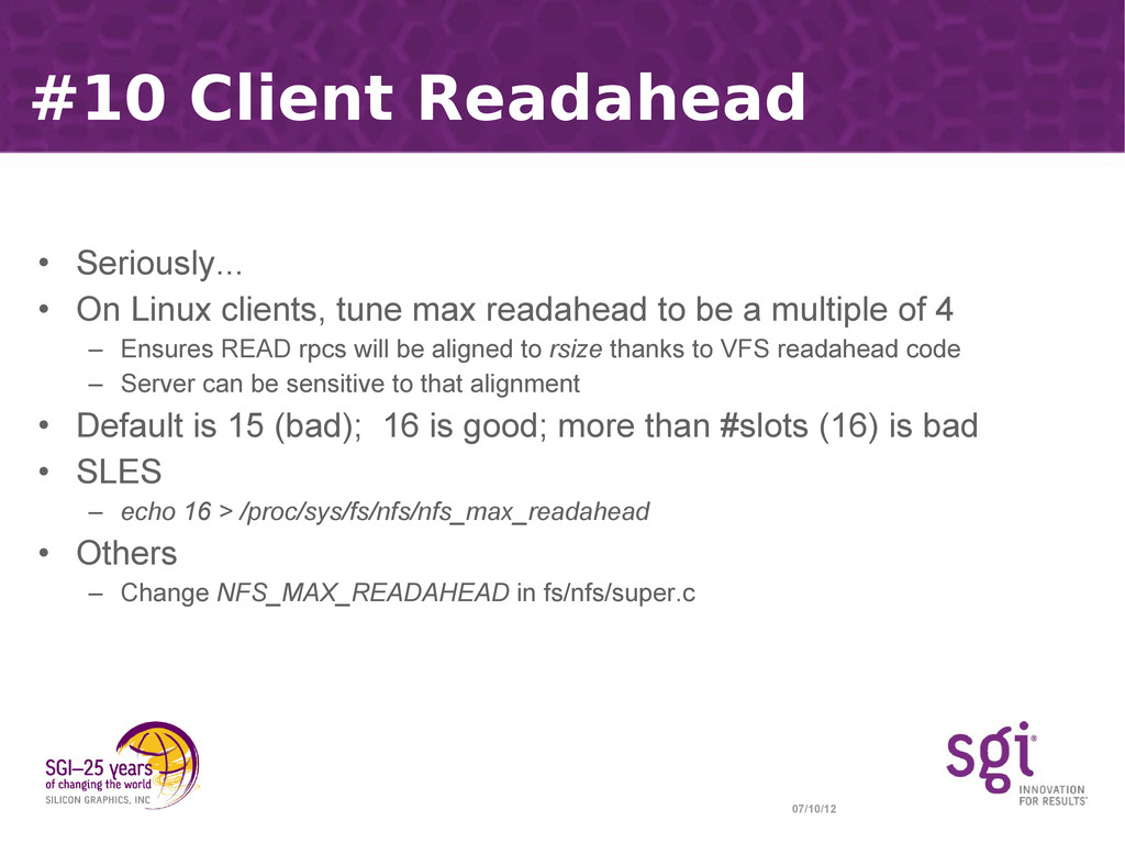07/10/12 #10 Client Readahead • Seriously... • ...