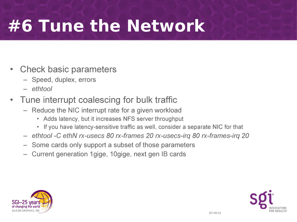 07/10/12 #6 Tune the Network • Check basic para...