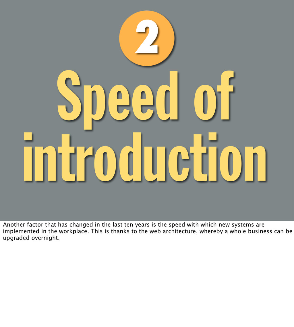Speed of introduction Another factor that has c...