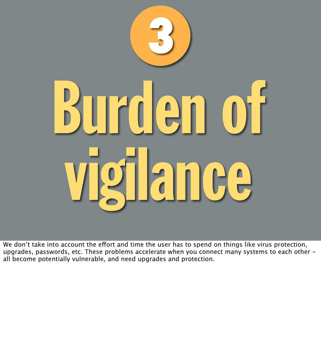 Burden of vigilance We don't take into account ...