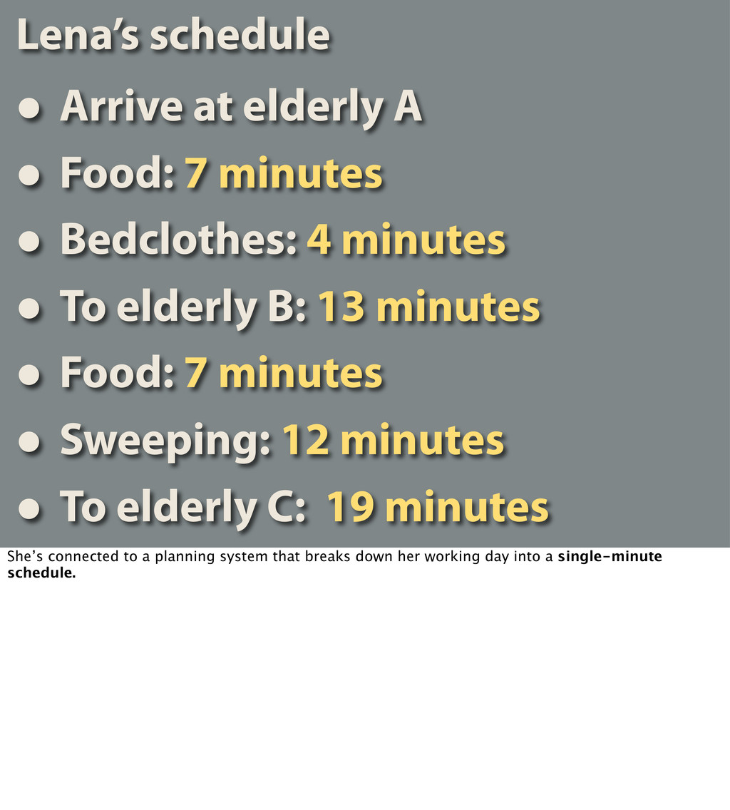 Lena's schedule • Arrive at elderly A • Food: 7...