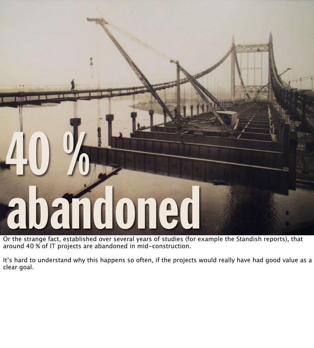 40 % abandoned Or the strange fact, established...
