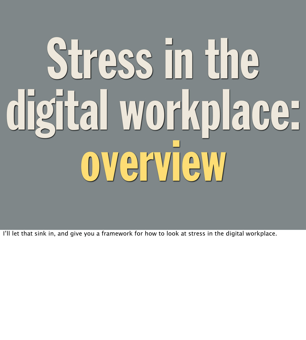 Stress in the digital workplace: overview I'll ...