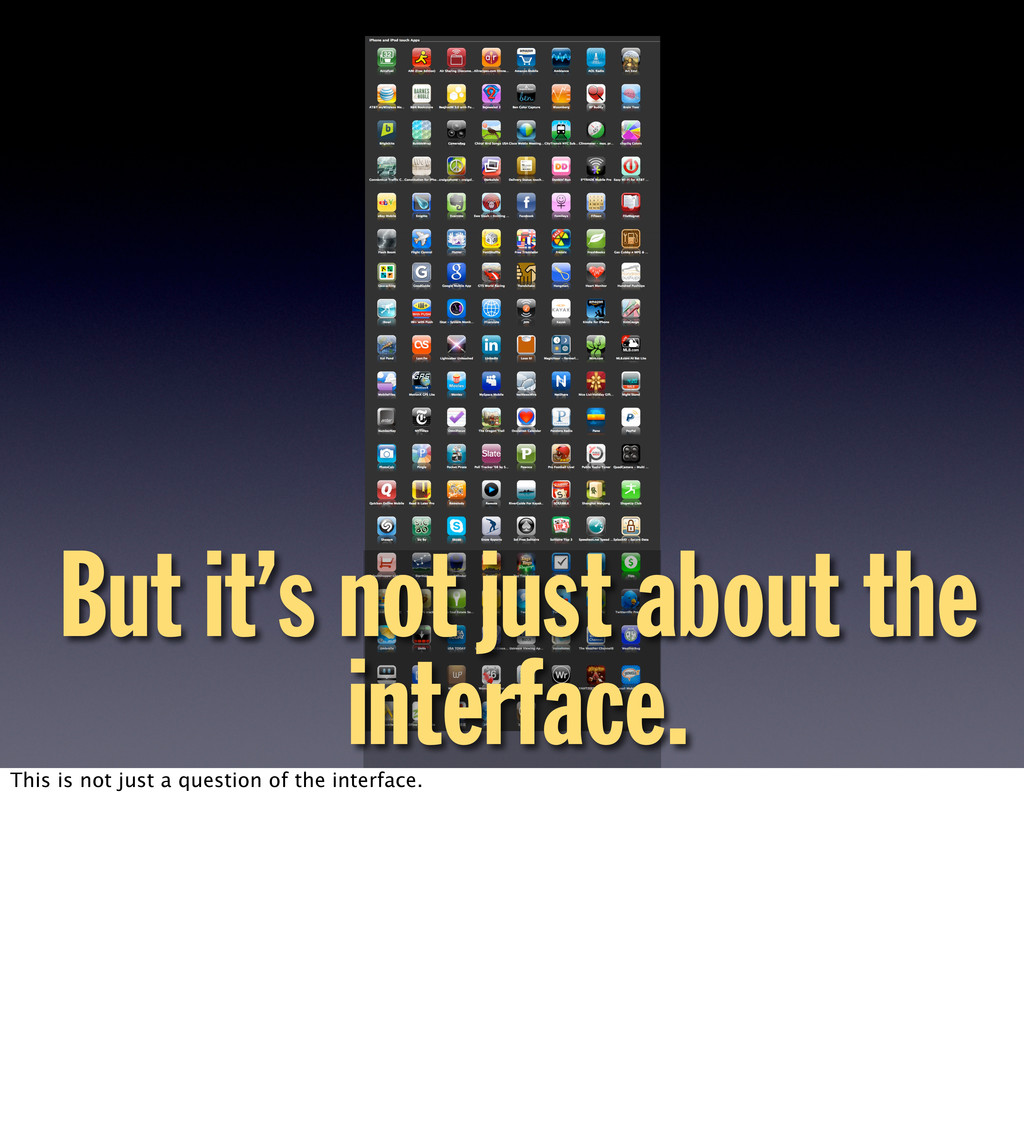 But it's not just about the interface. This is ...