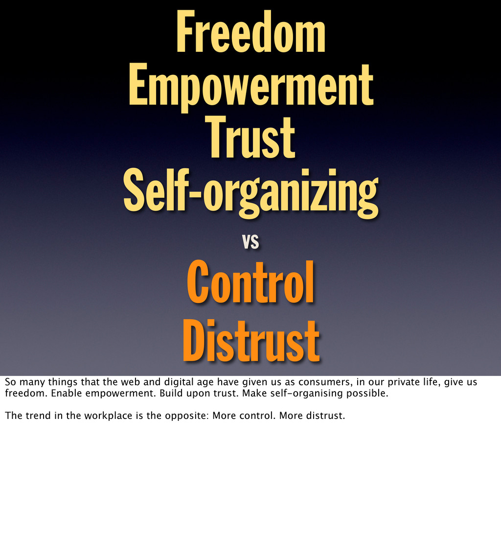 Freedom Empowerment Trust Self-organizing Contr...