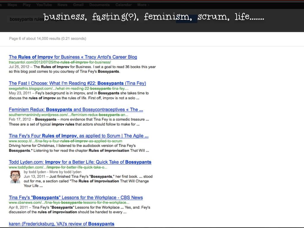 business, fasting(?), feminism, scrum, life.......