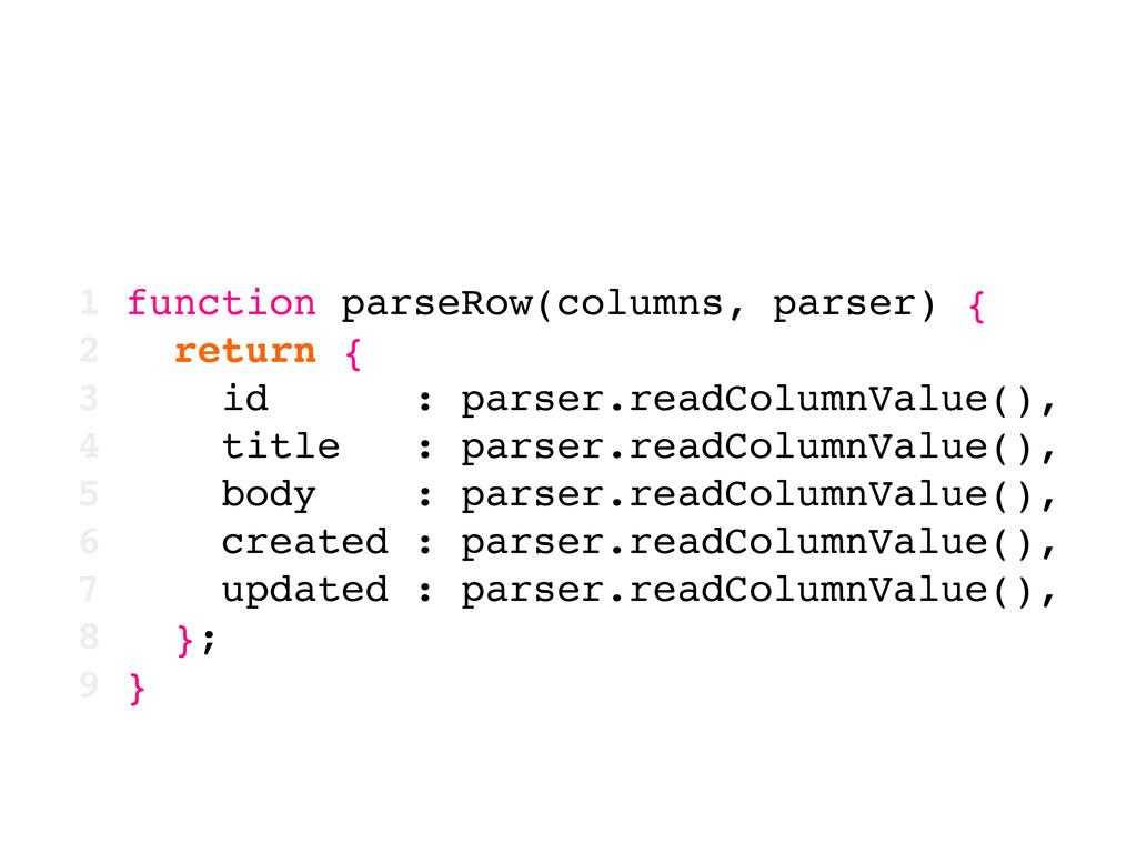 1 function parseRow(columns, parser) { 2 return...