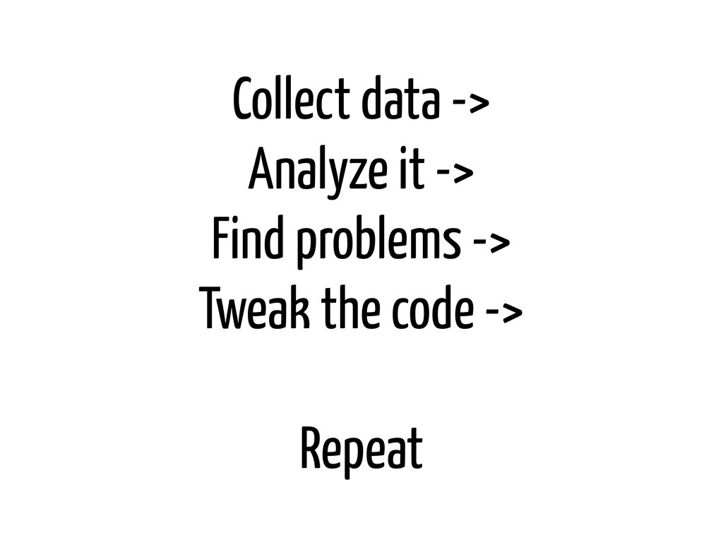 Collect data -> Analyze it -> Find problems -> ...