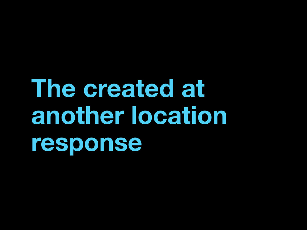 The created at another location response