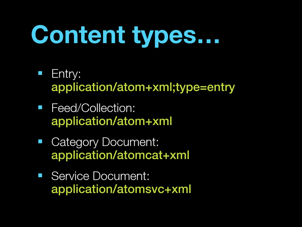 Content types… ■ Entry: application/atom+xml;ty...