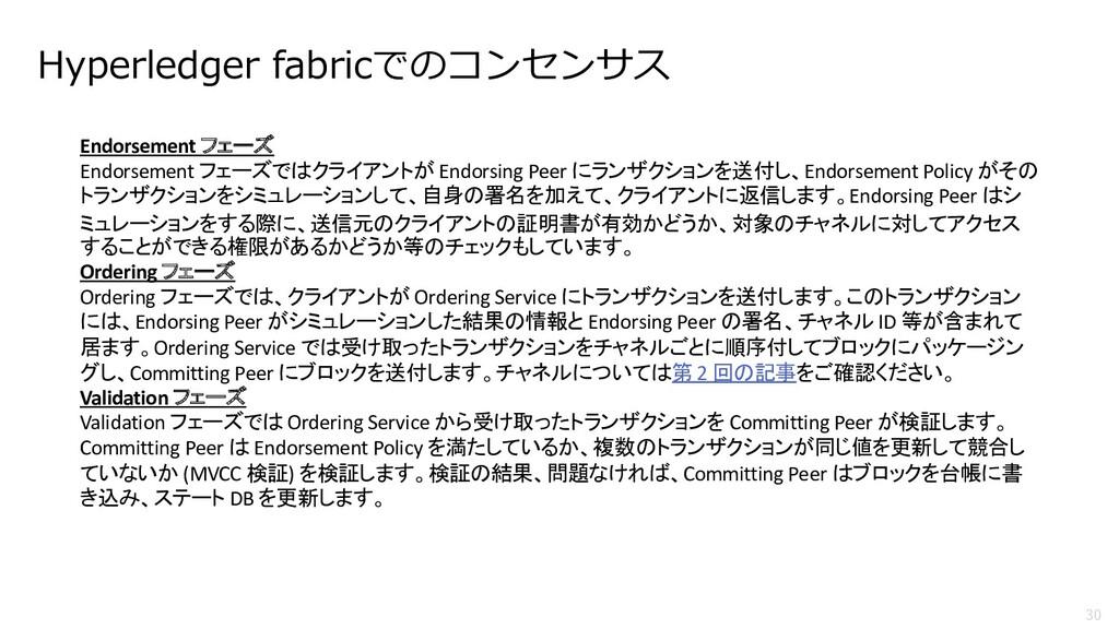 30 Hyperledger fabricでのコンセンサス Endorsement フェーズ ...