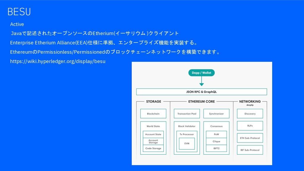 BESU Active Javaで記述されたオープンソースのEtherium(イーサリウム )...