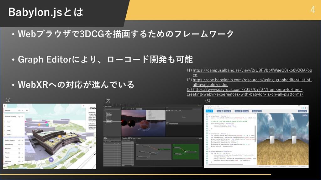 4 Babylon.jsとは • Webブラウザで3DCGを描画するためのフレームワーク • ...
