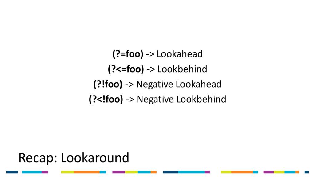 Recap: Lookaround (?=foo) -> Lookahead (?<=foo)...