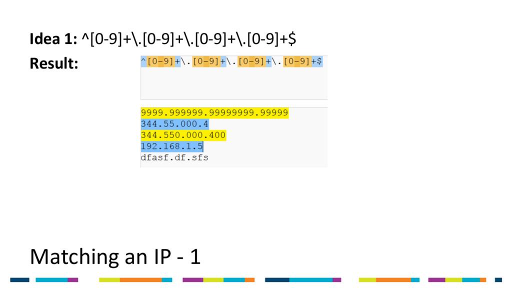 Matching an IP - 1 Idea 1: ^[0-9]+\.[0-9]+\.[0-...