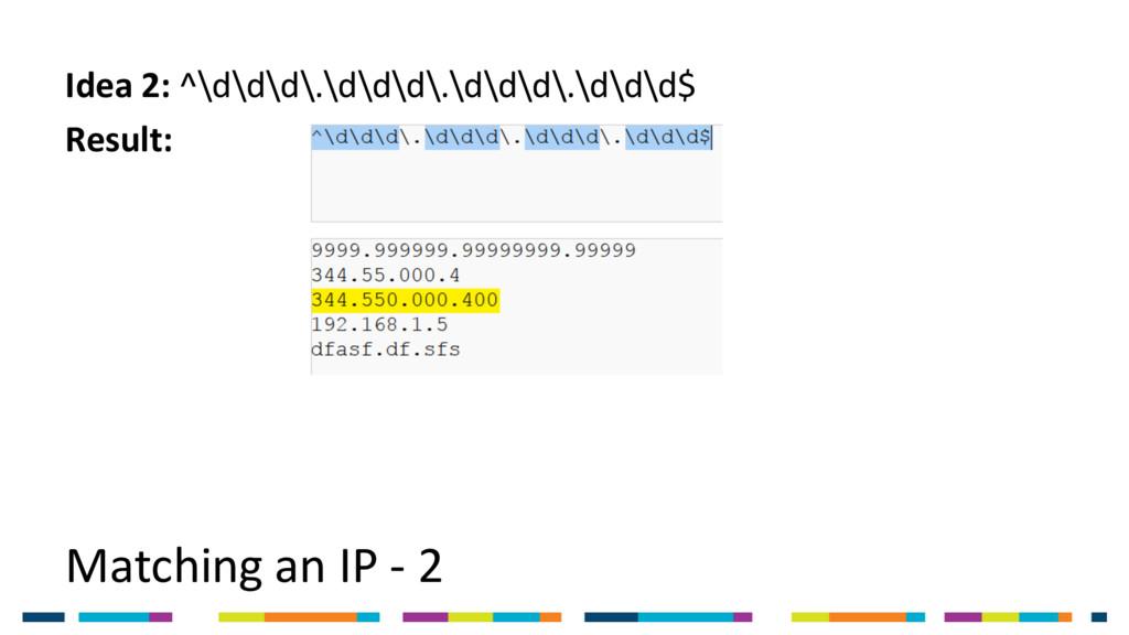 Matching an IP - 2 Idea 2: ^\d\d\d\.\d\d\d\.\d\...