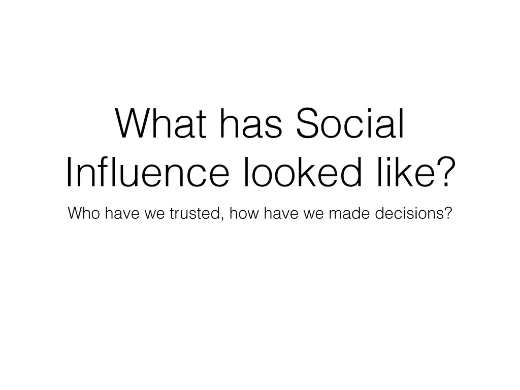 What has Social Influence looked like? Who have ...