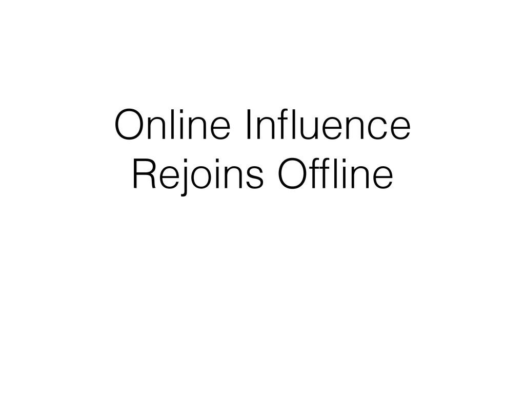 Online Influence Rejoins Offline