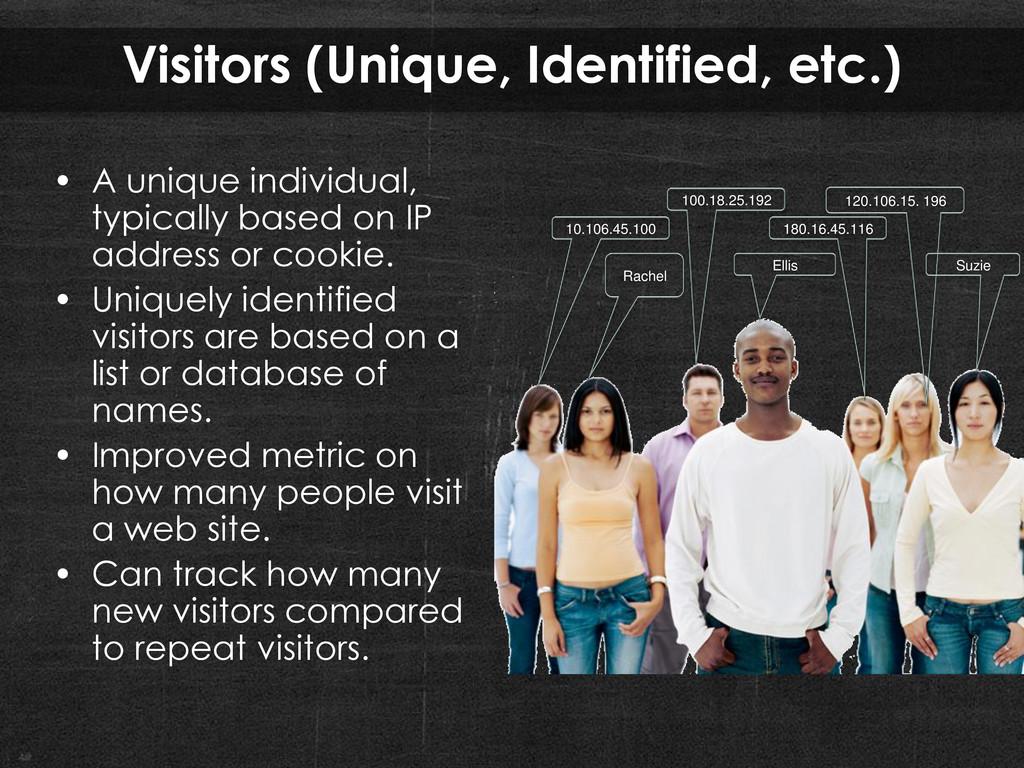 Visitors (Unique, Identified, etc.) • A unique ...